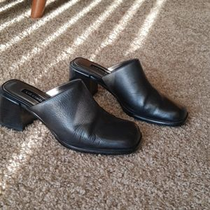 Vintage black square toe mules